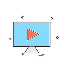 lcd screen play icon design vector image
