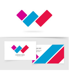 letter w logo concept with business card vector image