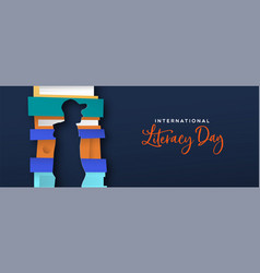 Literacy day card papercut man silhouette in books vector