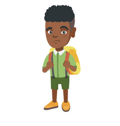 Little african sad schoolboy carrying a backpack vector