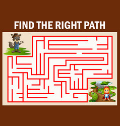 Maze game finds the wolf way get to girl red hoode vector