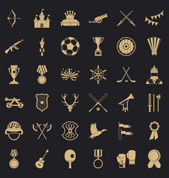 Medal icons set simple style vector