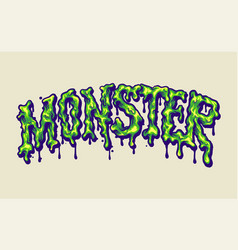 Melted monster font hand lettering vector