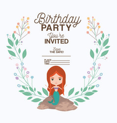 Mermaid with floral decoration invitation card vector