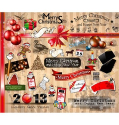 Merry Christmas icons collection vector image