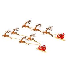 New year christmas set santa claus on a sleigh vector