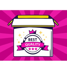 open box with icon of label best quality vector image