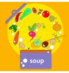Pan with open lid which cooks vegetarian soup vector