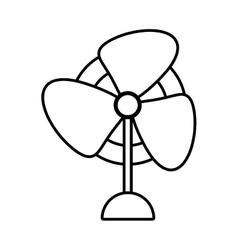 Pedestal fan electronic domestic appliance outline vector