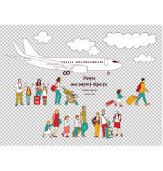 people and airport isolated objects transparent vector image