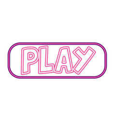 play button neon white background vector image