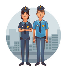 Police officers cartoons vector
