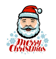 portrait of cheerful santa claus merry christmas vector image