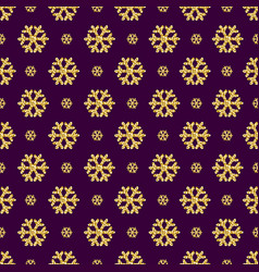 purple christmas pattern background with golden vector image