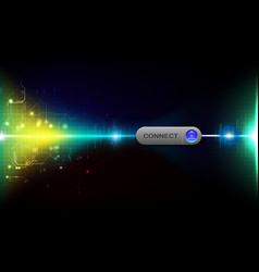 realistic connect button on abstract technology vector image