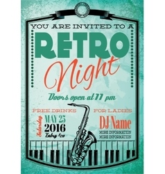 Retro poster for billboard with saxophone and vector