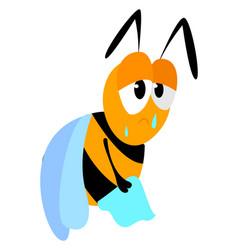 Sad bee on white background vector
