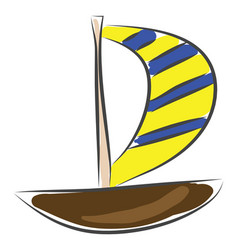 sailing boat sketch color on white background vector image
