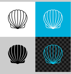 scallop seashell line icon linear sea shell vector image