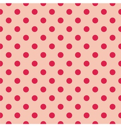 Seamless red polka dots on pink background vector image