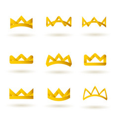 set golden modern crowns icons vector image