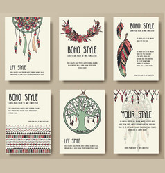Set of boho ornament style concept vector