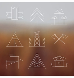 Set of retro camping badges vector image
