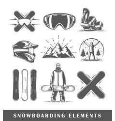 set of vintage snowboarding labels vector image