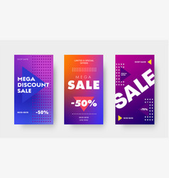 set purple gradient banners with triangles and vector image