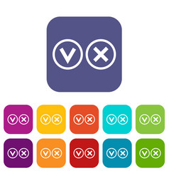 Signs of choice of tick and cross icons set vector