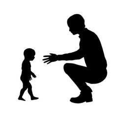 silhouette of father and child vector image