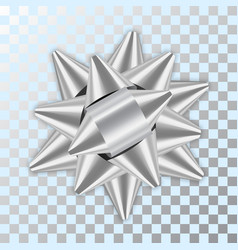 Silver bow ribbon 3d decor element package shiny vector