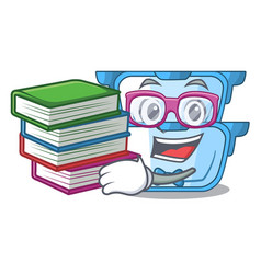 Student with book cartoon double boiler for the vector