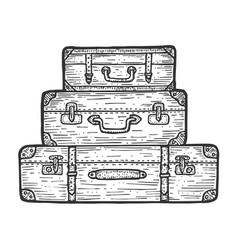 suitcase travel bag sketch engraving vector image