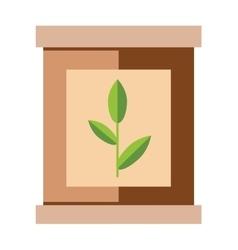 Tea pack with green tea leaf food packaging vector image
