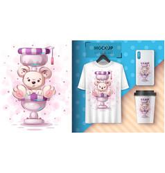 Toilet polar bear - poster and merchandising vector