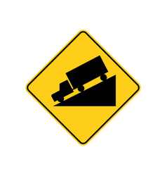 Usa traffic road signwarning sign for hill ahead vector
