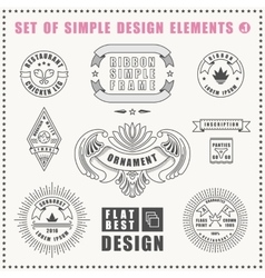 vintage flat elements icons collection vector image
