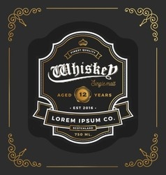 Vintage frame label design suitable for whiskey vector