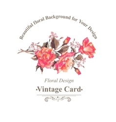vintage watercolor greeting card with blooming red vector image
