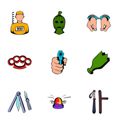 violence icons set cartoon style vector image