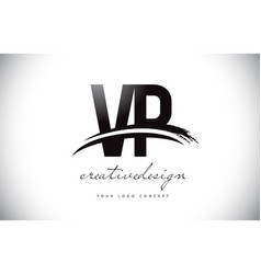 vp v p letter logo design with swoosh and black vector image