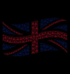 Waving great britain flag collage of total control vector