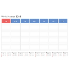 Week planner 2016 vector image
