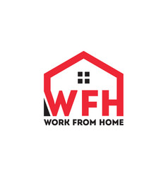 Wfh letter logo work from home vector