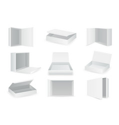 white paper cardboard package boxes isometric open vector image