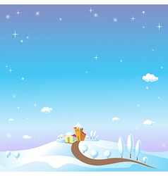 winter landscape with houses trees fields and snow vector image