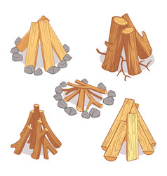 Wood stacks and hardwood firewood wooden logs vector