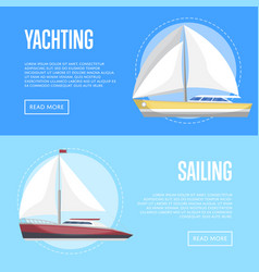 Yachting and sailing flyers with sailboats vector