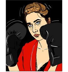 Young beautiful girl with boxing gloves on black vector